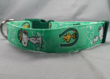 Snoopy Fabric St. Patrick's Day Dog Collar