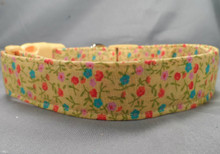 Cheerful Bright Flowers on Yellow Dog Collar