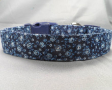 Cheerful Little Flowers on Navy Blue Dog Collar