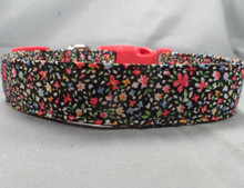 Cheerful Little Flowers on Black Dog Collar