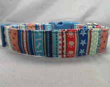 Red White and Blue Dog Stripe Dog Collar