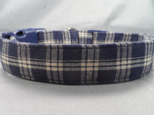 Navy and Cream Plaid Dog Collar