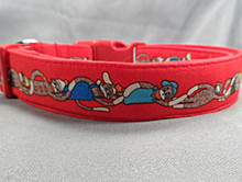 Red Sock Monkey Stripe Dog Collar