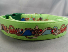 Green Sock Monkey Stripe Dog Collar