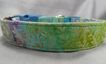 Batik Fabric Green Blue and Purple Dog Collar