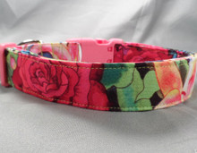 Bright Roses and Lilies Dog Collar