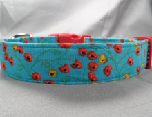 Red and Yellow Poppy Flowers on Blue Dog Collar