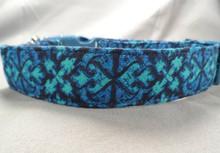 Aqua and Cornflower Blue Scroll Dog Collar