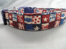 Red White and Blue American Patriotic Dog Collar Rescue Me Collars