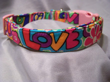 Peace and Puppy Love Dog Collar  Shown here with a pink buckle, other buckle colors are available.