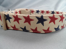 Red and Blue Stars on Tan Patriotic Dog Collar Rescue Me Collars