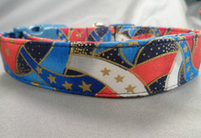 Red White and Blue Ribbons Patriotic Dog Collar