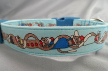 Blue Sock Monkey Stripe Dog Collar