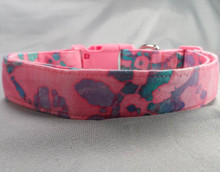 Dog Days Large Flowers on Pink Batik Collar