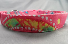 Dog Days Pink Polka Dot Batik Collar