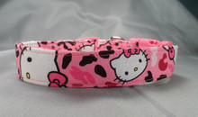 Hello Kitty Pink Leopard Fabric Dog Collar