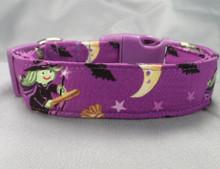 Wonderful Witches on Purple Halloween Dog Collar