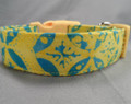 Blue and Yellow Batik Dog Collar