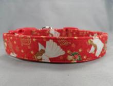 Angels on Red Christmas Dog Collar