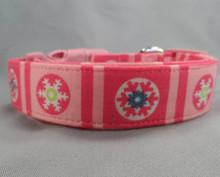 Snowflake Blocks on Pink Dog Collar