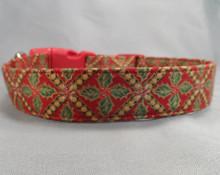 Diamond Holly on Red Christmas Dog Collar