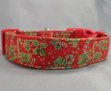 Candy Canes and Holly on Red Christmas Dog Collar