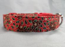 Green Holly Leaves Scrolled on Red Christmas Dog Collar
