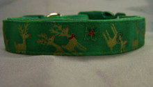 Gold Reindeer on Green Christmas Dog Collar