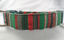 Holiday Stripes Green Christmas Dog Collar