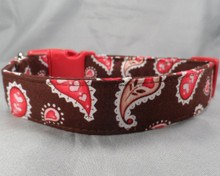 Paisley Hearts on Brown Dog Collar