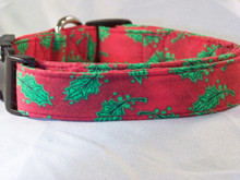 Green Holly on Red Christmas Dog Collar rescue me dog collar