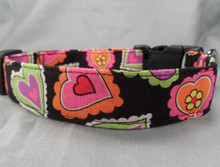 Funky Neon Hearts Dog Collar