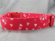 Little hearts on Red Valentine Dog Collar