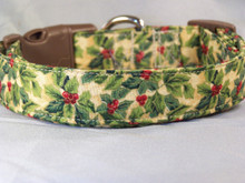 Holly Sprigs on Ivory Christmas Dog Collar rescue me dog collar