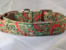 Holly and Pine cones with Red Ribbon Christmas Dog Collar Rescue Me Collars