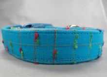 Bright Blue Nubby Plaid Dog Collar