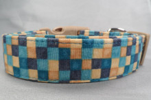 Blue Color Block Plaid Dog Collar