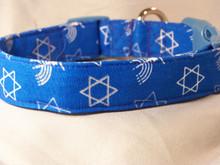 Hanukkah Symbols on Blue Dog Collar rescue me dog collar