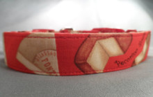 Red Cheese Dog Collar Rescue Me dog Collar