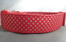 Silver Stars on Red Dog Collar Rescue dog collar