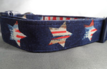 Patriotic Stars on Navy Blue Dog Collar rescue me collar