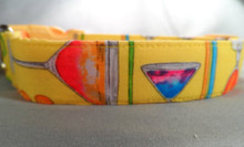 Summer Cocktails Yellow Dog Collar Rescue Me dog collar