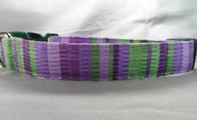 Green and Purple Stripe Dog Collar Rescue Me Collar