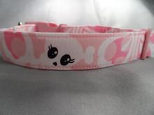 Hibiscus Pink Goth Girl Skull Dog Collar rescue me collar