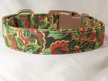 Elegant Holly and Scroll Work on Green Christmas Dog Collar Rescue Me Collar