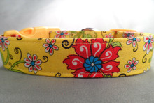 Yellow Country French Flower Dog Collar rescue me