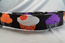 Spooky Cupcakes 1.5 inch Wide Dog Collar Rescue Me Dog Collar