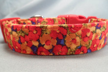 Red and Yellow Flowers on Blue Dog Collar Rescue Me Dog Collar