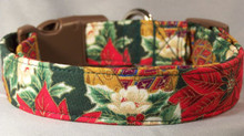 Poinsettia Flowers on Green Dog Collar rescue me collar