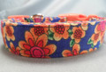 Red and Yellow Fun Flowers on Blue Dog Collar Rescue Me dog collar
